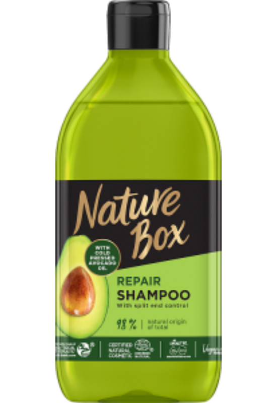 Nature Box sampon Avokádó a regenerált hajért 385 ml